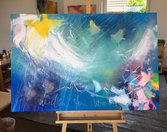 original large abstract painting on canvas, blue wall art, turquoise white colourful