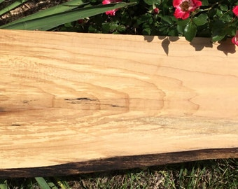 Live Edge Cutting Board and Wood Serving Tray of Ambrosia Maple