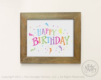 Happy Birthday Printable Decor, DIY Birthday Art, Print and Cut, Birthday Party, Rainbow Decoration, Confetti Party Streamers, Birthday Sign