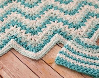 Crochet Pattern - Gentle Ripple Baby Blanket and Hat Pattern  - Instant Download  PDF