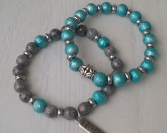 Turquoise and Gray Beaded Bracelets/Glass Beaded Bracelets/Stacking Bracelets/Stretch Bracelets