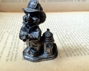 Vintage Dog Fireman with Fire Hydrant Pewter Small Figurine