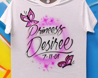 Airbrush Butterfly Birthday Name T shirt