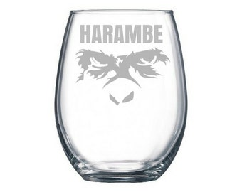 Harambe wine glass, Harambe meme, dicks out for Harambe, Take a shot for harambe, Harambe sticker, internet meme gifts, RIP, Harambe wine