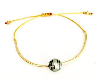Tahitian Pearl Bracelet, Adjustable, Tahitian Pearls, 14K gold filled.