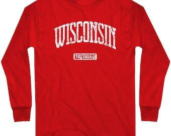 LS Wisconsin Tee - Represent Long Sleeve T-shirt - Men and Kids - S M L XL 2x 3x 4x - 4 Colors