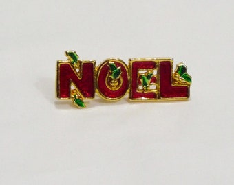OOAK Vintage Christmas Noel Statement Ring