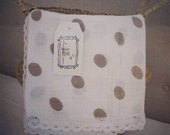 Snuggie Cotton XXL (120X120cm) swaddle blanket Hydrofieldoeken taupe Dots