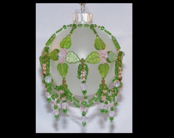 Beaded Spring Ornament Cover - green leaves & pink crystals