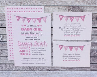 Printed Baby Shower Invitation Girl / Pink Gray Hearts Flags
