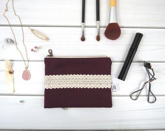 Linen Lace zipper pouch small size - HANNAH in Eggplant - vintage cotton lace, linen cosmetic bag, passport case clutch