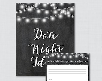Date Night Ideas - Printable Chalkboard Bridal Shower Date Night Idea Cards and Sign - Rustic Chalkboard Bridal Shower Activity 0005