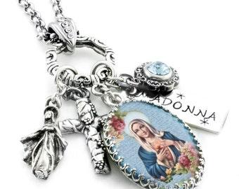 Madonna Religious Jewelry, Madonna Necklace, Biblical Jewelry, Religious Necklace