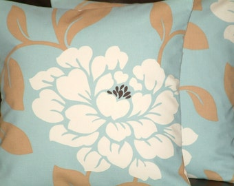 "Two Chic 16"" Duck Egg Blue Cream Funky Designer Retro Pillowcases,Cushion Covers,Pillow Covers,Pillow (NEW FABRIC) 40cms"