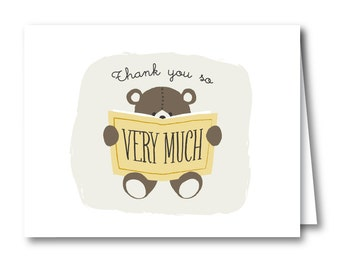 Teddy Bear Thank You Cards for Bring-a-book Baby Shower // TEDDY READS