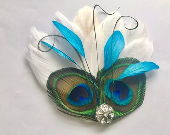 LINNY in Turquoise and Natural Peacock Feather Hair Clip, Feather Fascinator