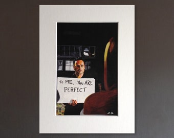 LOVE ACTUALLY wall art - giclee print of 'Love Actually' acrylic painting by Stephen Mahoney - iconic 'To Me You Are Perfect' scene