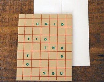 Grid Tidings To You letterpress holiday card christmas card pun graphic design