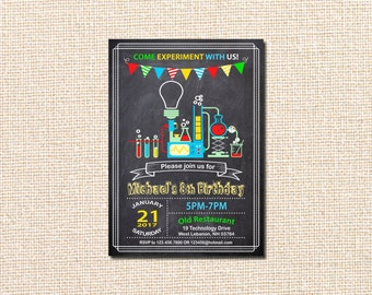Science Birthday Invitation, Science Experiment Birthday Invitation, Science Birthday Party Invitation, Science Party, experiment, beakers