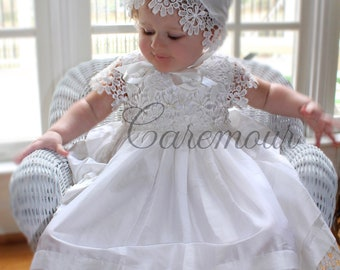 Silk and Cutwork Lace Christening dress, Christening gown, baby girl christening gown, Baptism dress, Baptism gown, christening gown baby