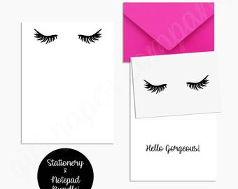 Lash Stationery Bundle- Notepad & Set of 15 Folded Cards with Hot Pink Envelopes
