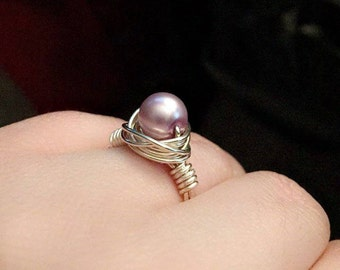 Purple Pearl Wire Wrapped Ring