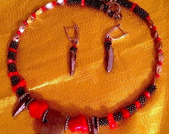 Artisan Unique Artsy necklace/earrings set~