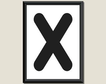 Typography Digital Print Monogram Initial Wall Art Zarista Letter X