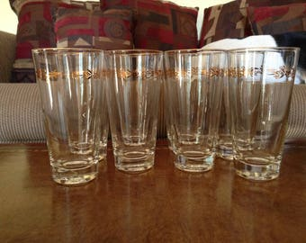 Homer Laughlin/Lifetime China Gold Crown Beaded Stem Gold Trim Ice Tea Tumblers Set of 8 FREE SHIPPING