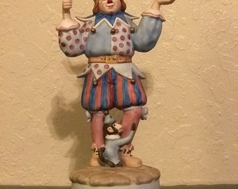 Colorful Clown Jester Music Box Figurine
