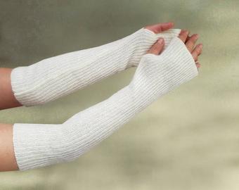Wool long gloves, Fingerless gloves, White long gloves, Winter womens gloves, Warm knitted gloves, Womens trendy gloves, Wool knit gloves