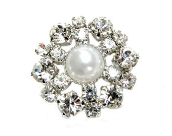 5 Pearl Crystal Rhinestone buttons for Wedding Hair Accessories Scrapbooking Invitation Card RB-028 (23mm or 0.9 inch)
