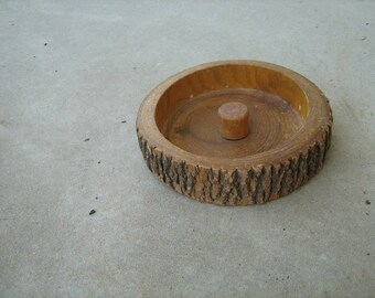 Vintage Wood Tree Bark Nut Bowl