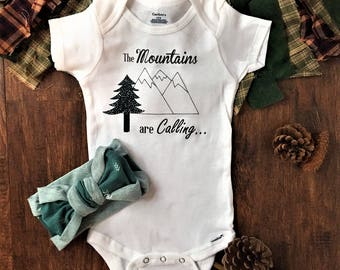 The Mountains are calling and I must go baby onesie, mountain baby shower clothes, hiking baby outfit, adventure baby shower decorations