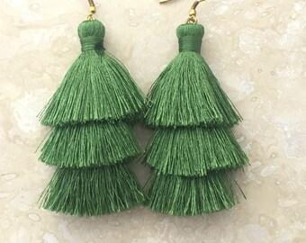 Zara Khaki Green Tassel Earrings, Long Tassle Earrings, Green Tassel Earrings, Earrings Handmade, Gift for Women, Birthday Gift, Friend Gift