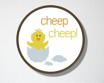 Counted Cross stitch Pattern PDF. Instant download. Hatching Chick. Includes easy beginners instructions.