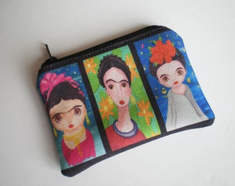 Coin purse, Small zipper pouch, Frida Kahlo coin purse, Card wallet, Frida Kahlo, Gift idea