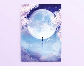 Fantasy Anime Art Postcard: Moon Child, Anime Postcard, Fantasy Postcard, Scenic Postcard