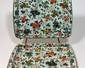 Vintage Metal Serving Tray Daher Decorated Ware Rectangle Floral Trays Set of Two