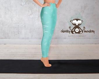 Yoga Leggings // Bride & Ring Print Leggings (Aqua) // Yoga, Barre, Pilates, Dance, Running, Exercise, Fashion, Bridal Shower