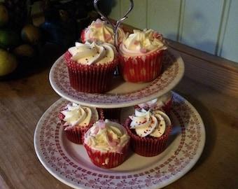 Handmade Upcycled vintage plate 2-tier cake cupcake stand for tea/coffee and cake
