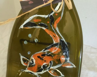 Hand Painted Koi Amber Glass Wine Bottle Cheese Tray/Platter
