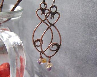 Copper Raw Crystal Fish Earrings Long Dangle Rustic Bohemian Earthy Earrings Birthstone Earrings Raw Crystal Jewelry Copper Fish Jewelry