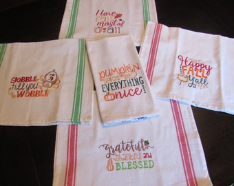 Fall Machine Embroidery Kitchen Towels