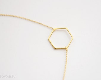 Gold Plated Hexagon Necklace/ Geometric Hexagon Necklace/ Minimalist Hexagon Necklace/ Light Simple Minimal Boho Dainty Hexagon Necklace