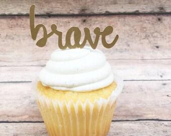 Brave Cupcake Topper • Woodland Cake Topper • Boho Party Supplies • Gold Brave Cutout • Gold Boho Cupcake Topper • Tribal Party Decor