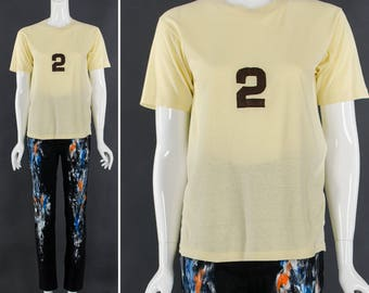 Vintage 50's Hand Stitched Number Two Pale Yellow T-Shirt Varisty Tee Athletic TShirt Vintage Sportswear Unisex