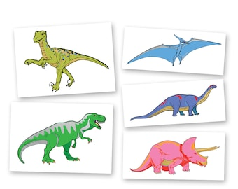 Dinosaur Variety Pack metallic temporary Fun Tats kids space inspired Flash Tattoos- 25 pre-cut tattoos designs, party supplies