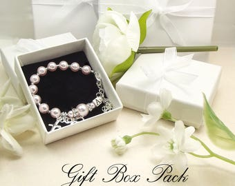 GIFT BOX for Rosaries and Bracelets with Personalized Guardian Angel Prayer Card with space to personalize card.