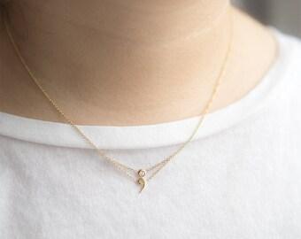 Semicolon Necklace, Semicolon Jewelry, Solid Gold Semicolon Necklace, Personalized Jewelry, Project Semicolon, Awareness Jewelry